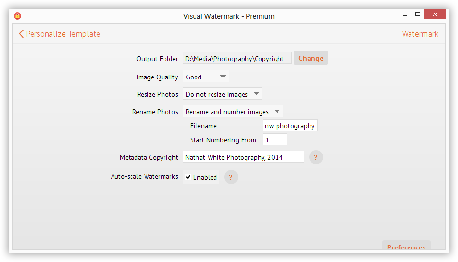 Specify output folder for watermarked pictures