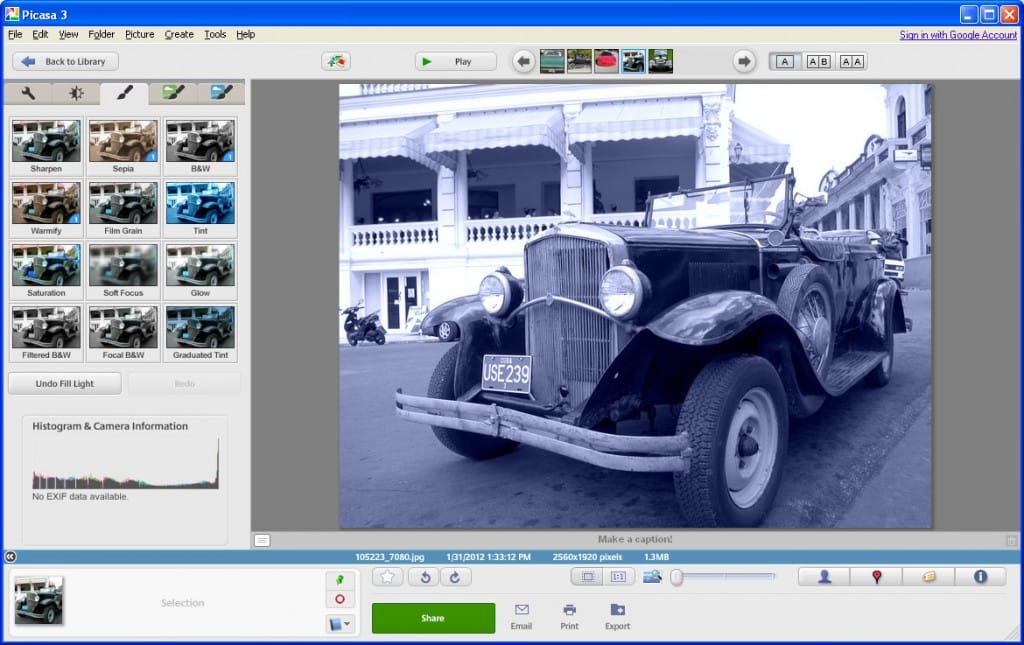 Effects tab in Picasa - A place to apply sepia or tint effects
