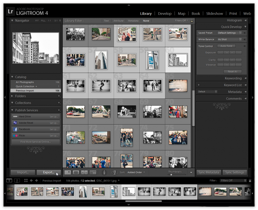 Lightroom 4 - Export Multiple Images