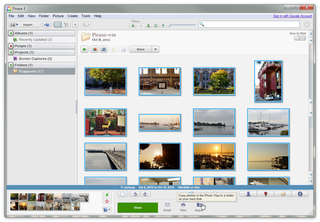 Picasa - Export Multiple Images