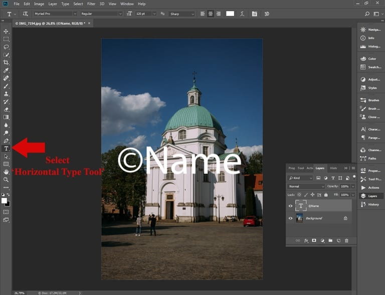 Batch watermarking in Photoshop tutorial - Step #3 - Add a text layer