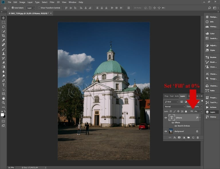 Batch watermarking in Photoshop tutorial - Step #6.1 - Set the Fill option to 0
