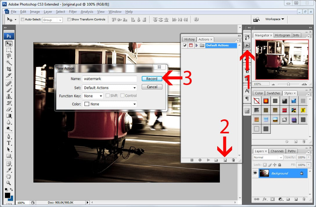Batch watermarking in Photoshop tutorial - Step #2 - Record a watermarking action