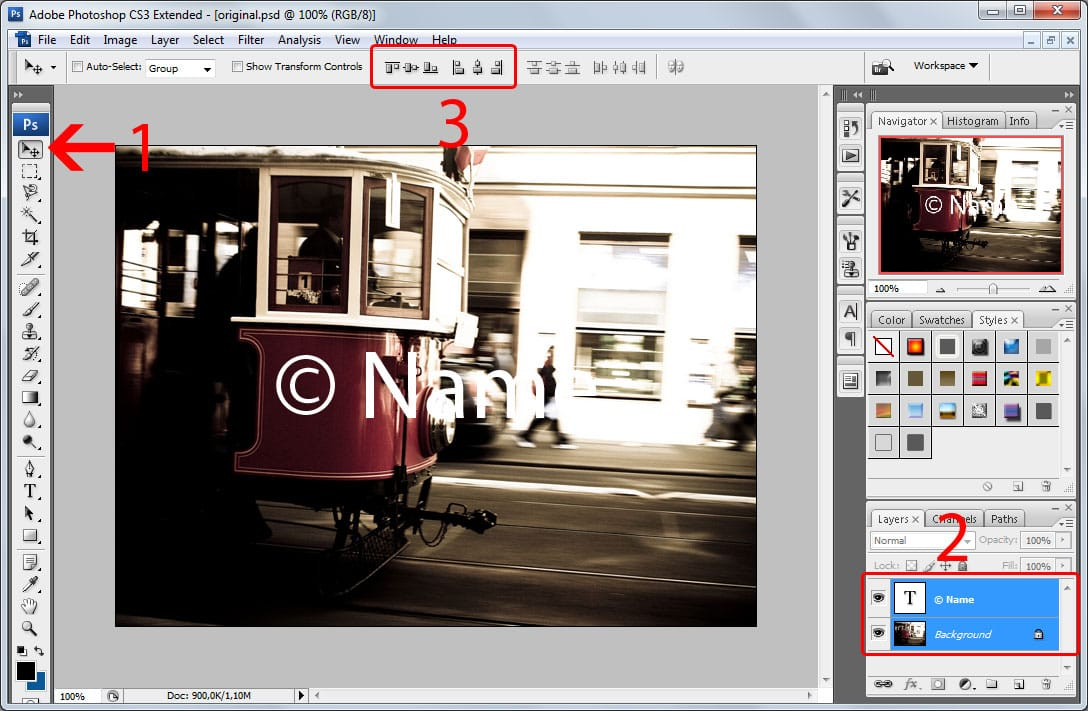 Batch watermarking in Photoshop tutorial - Step #4 - Arrange the watermark