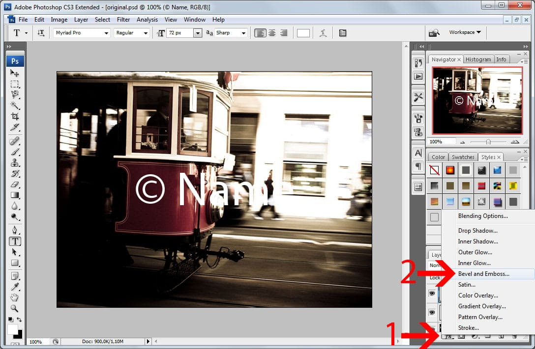 Batch watermarking in Photoshop tutorial - Step #5 - Apply a bevel effect to the watermark