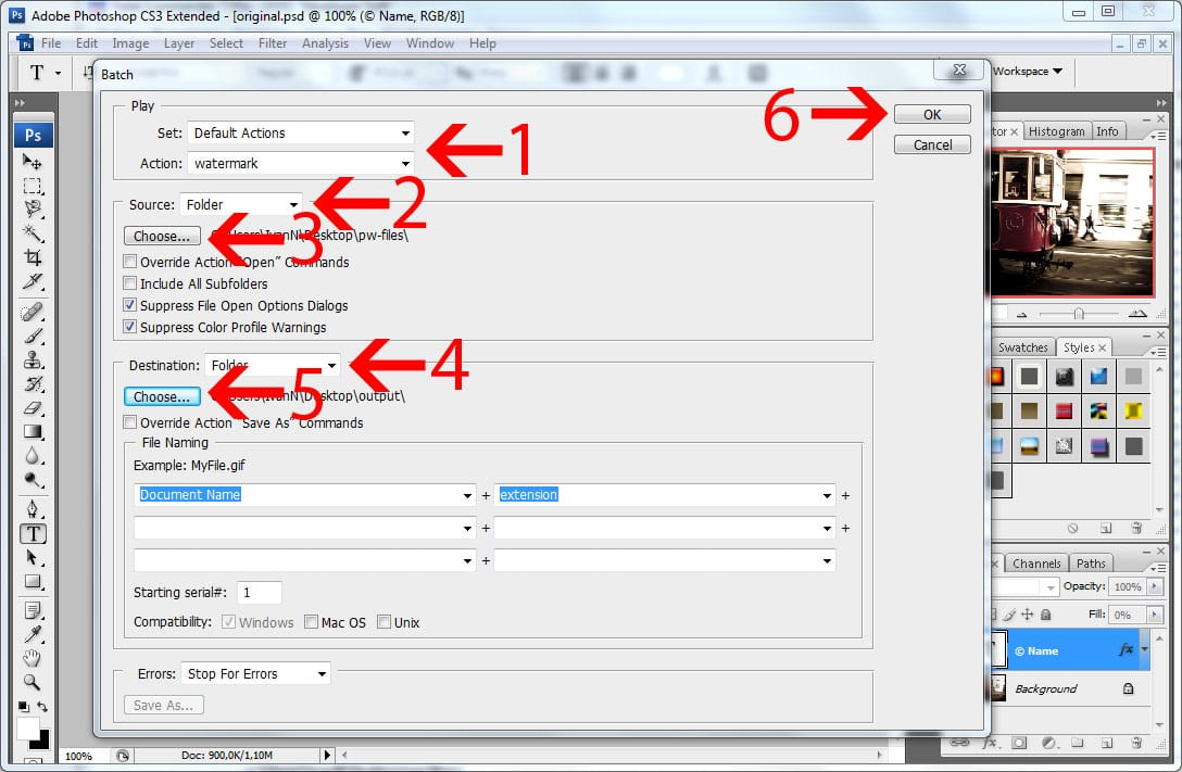 Batch watermarking in Photoshop tutorial - Step #8 - Start the batch watermarking